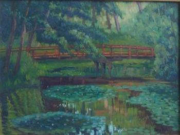 Bridge Over Stream with Water Lilies