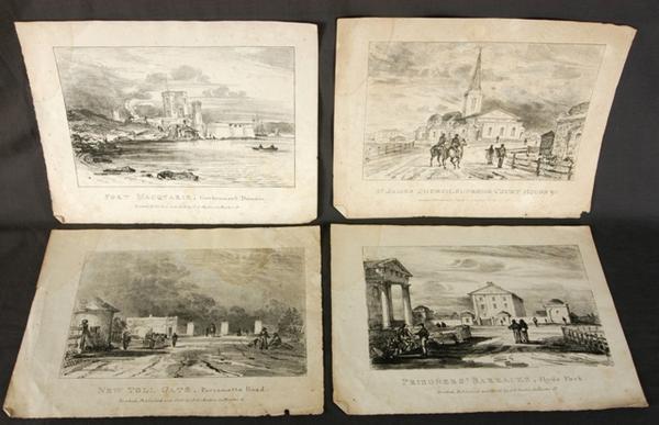 Colonial Sydney Town Views. New Toll State, Parramatta Road; Prisoners Barracks, Hyde Park; St James Church, Supreme Cou (4)