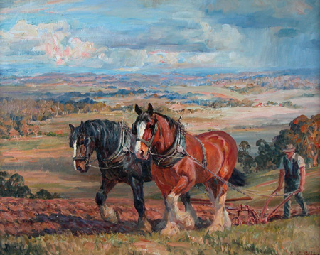 Oil Painting Horses Man Ploughing Field