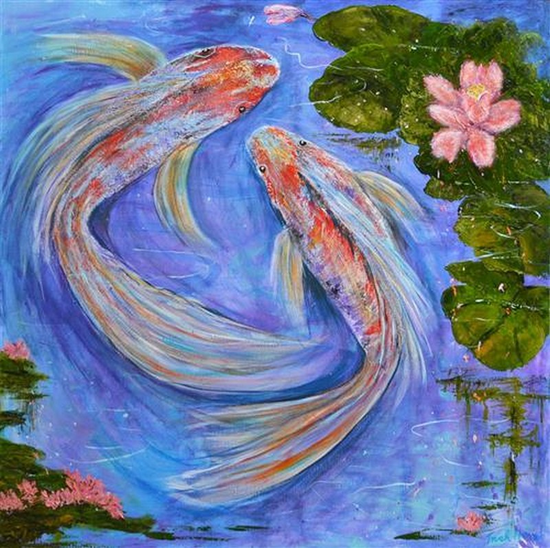 Paintings patricia hend australian art auction records for Koi fish pond sydney