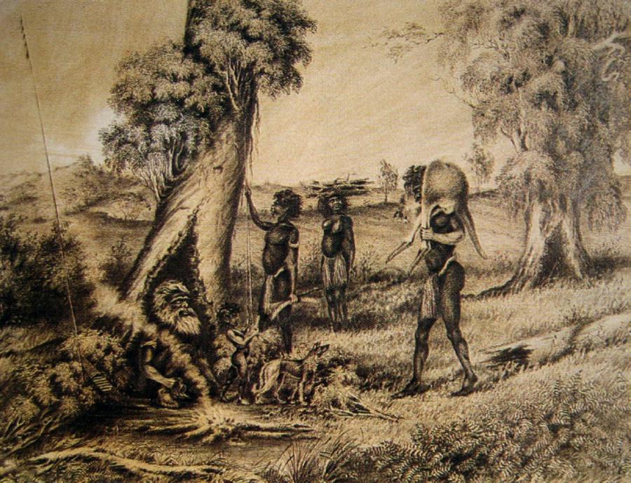 Aboriginal Family Around the Campfire