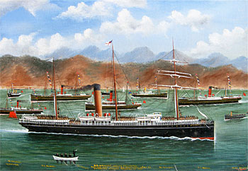 S.S. Waiwera Leaving Wellington for the Cape with The N.Z Contingent 24 October 1899. Escorting Steamers Returning to Port