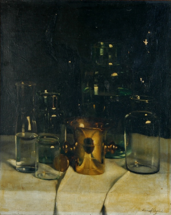 Still Life with Glass Jars. Paint Flaking.