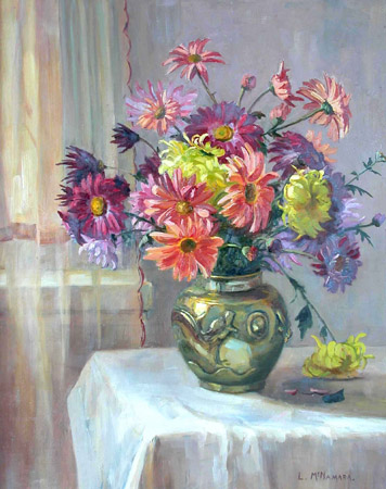 Still Life - Dahlias in Brass Vase