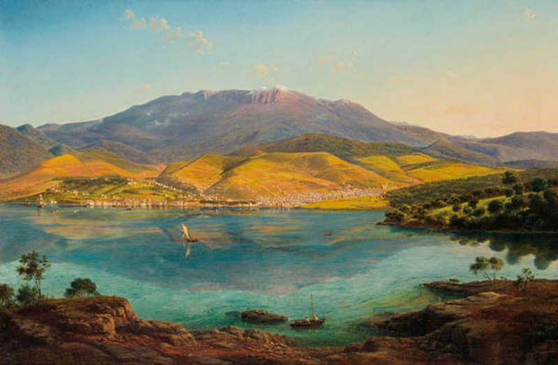 View of Hobart Town, with Mount Wellington in the Background, 1856