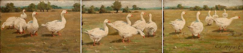 Triptych of Geese in a Field