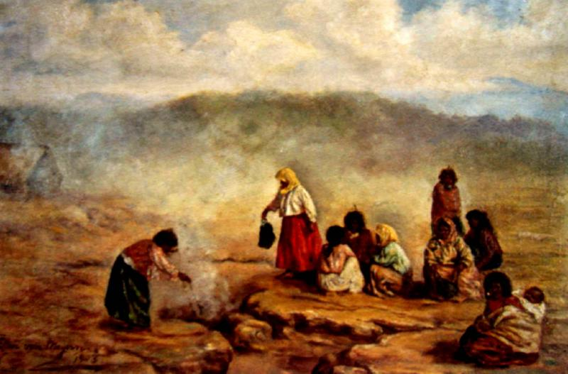 Maori Women and Children Cooking at a Geothermal Hangi Pit