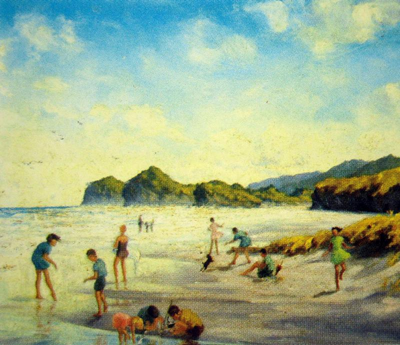 'Bethells Beach with Figures'