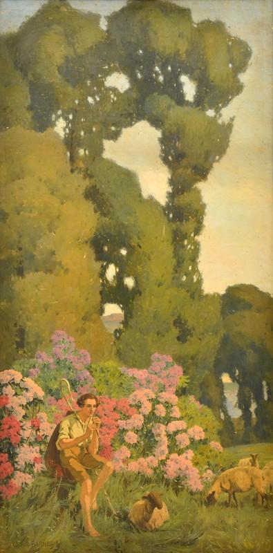 i) the Romantic Shepherd Scene 1909; ii) Shepherd's Wife 1909 (Pair)