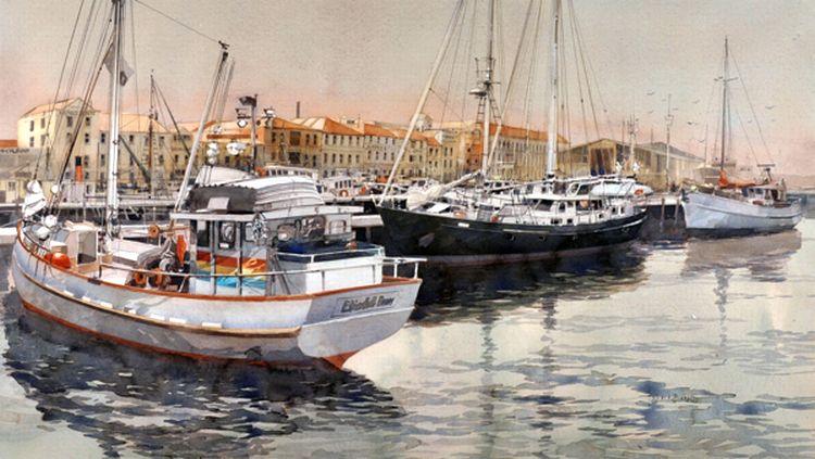 'Fishing Boats at Victoria Dock, Hobart'