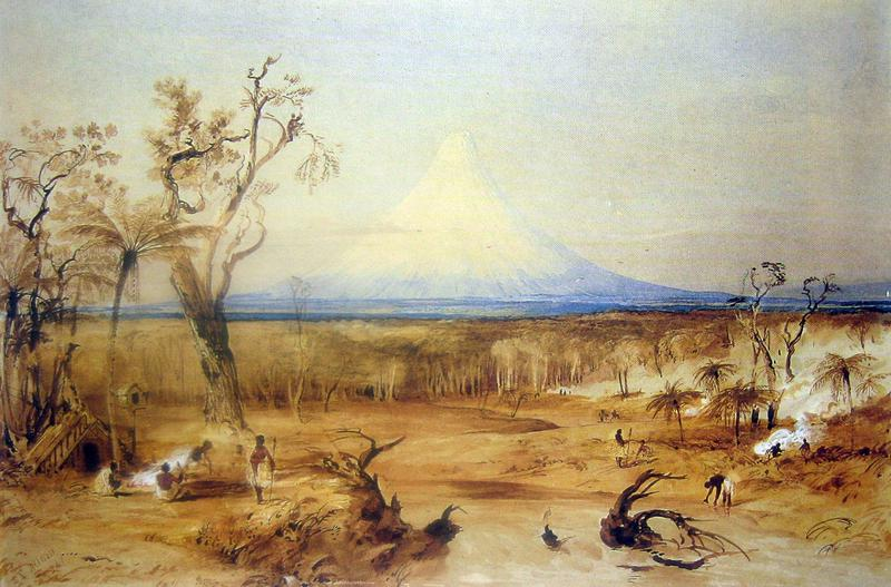 Mount Egmont from the North Shore of Cooke's Strait, New Zealand, Natives Burning Off Wood for Potato Grounds