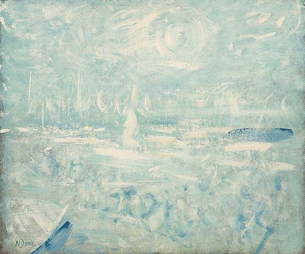 Boats in a Landscape (Scene at Wangi - Boats At High Wind) c. 1960